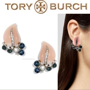 K.J.L. Tory Burch Rhinestone Leave Clip Earrings